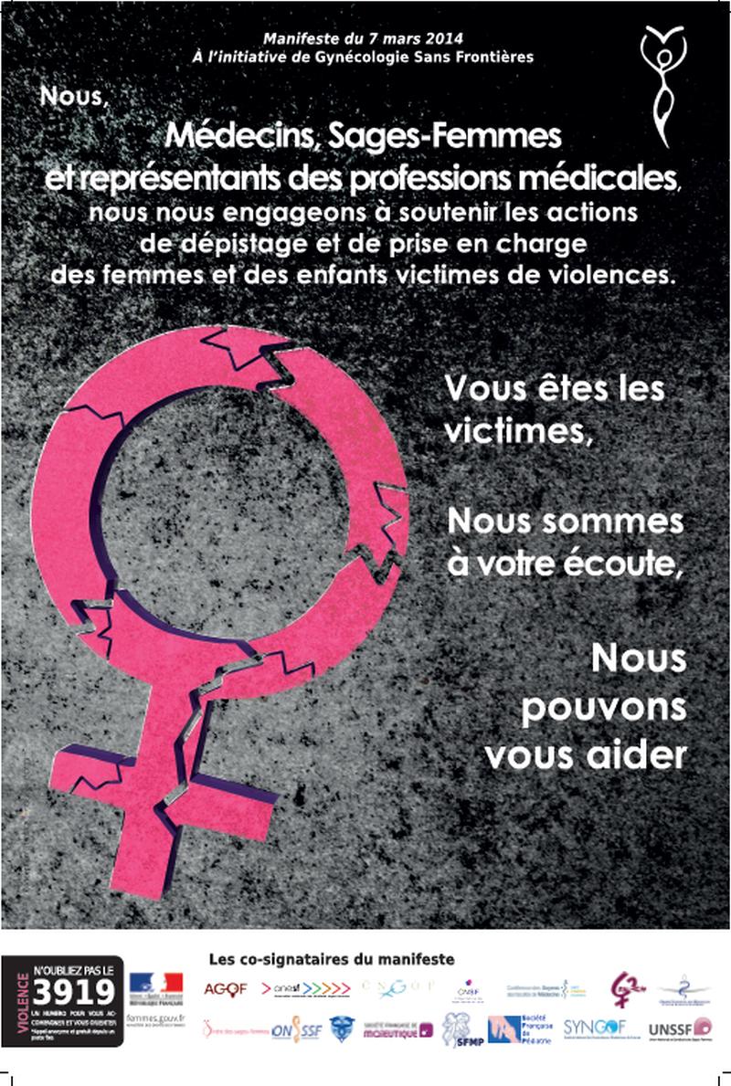 Manifeste pour la lutte contre les VFF, signé de l'ensemble des acteurs de périnatalité et des représentants ordinaux (Médecins, Sages Femmes)