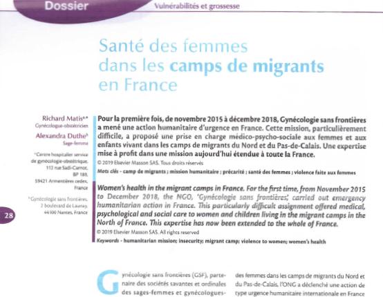 Article «La Santé des femmes dans les camps de migrants en France»