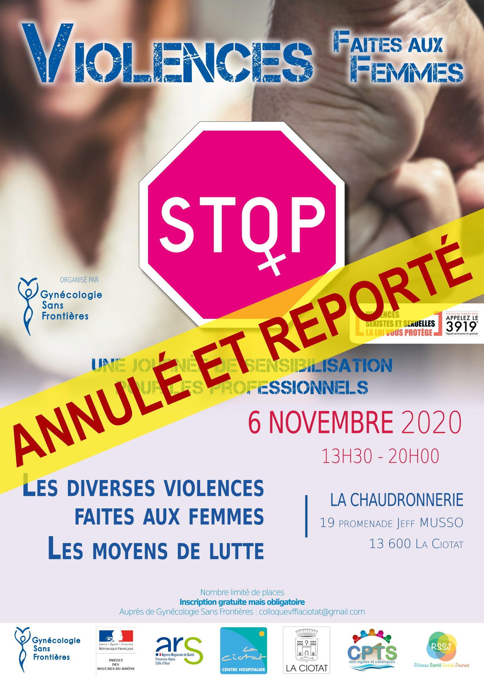 Colloque La Ciotat (13) Violences faites aux femmes – Report en 2021