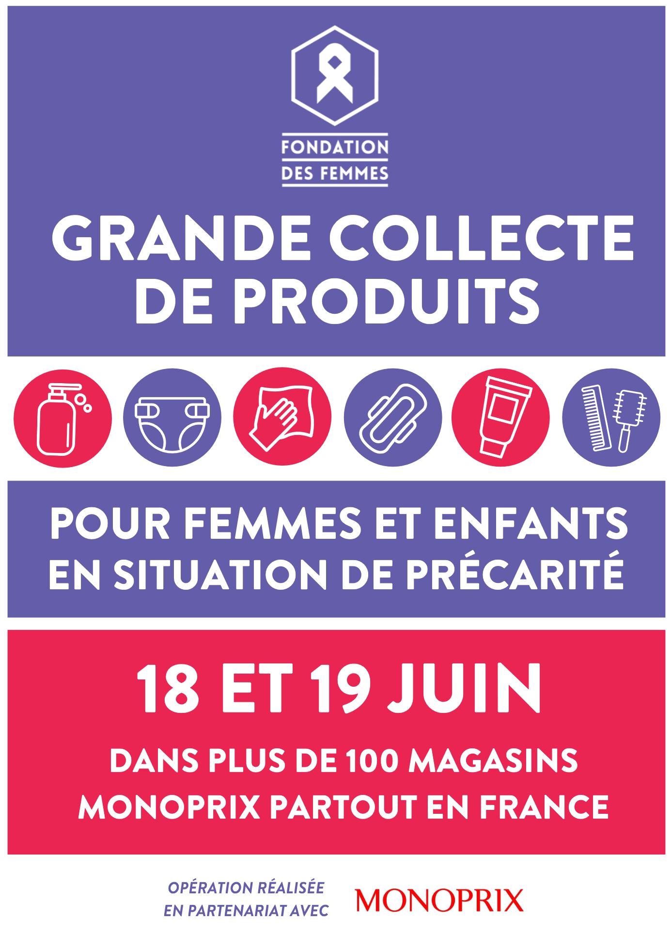 18 & 19 JUIN 2021 – Grande collecte hygiène et soins pour femmes et enfants en grande précarité – La Fondation des Femmes s'engage
